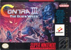 Box artwork for Contra III: The Alien Wars.