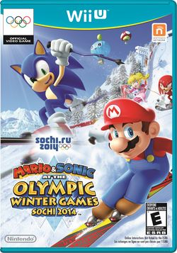 Box artwork for Mario & Sonic at the Sochi 2014 Olympic Winter Games.