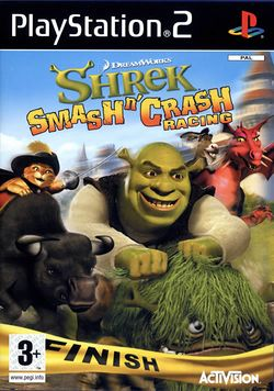 Box artwork for Shrek Smash n' Crash Racing.