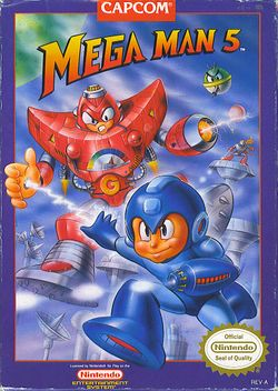 Box artwork for Mega Man 5.