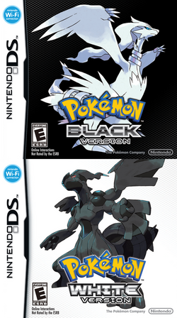 Box artwork for Pokémon Black and White.