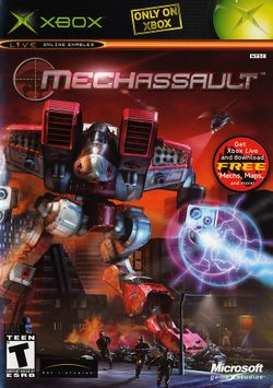 Box artwork for MechAssault.