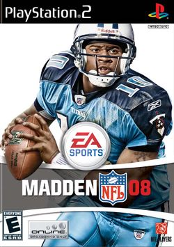 Box artwork for Madden NFL 08.