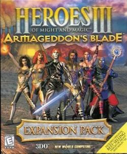 Box artwork for Heroes of Might and Magic III: Armageddon's Blade.