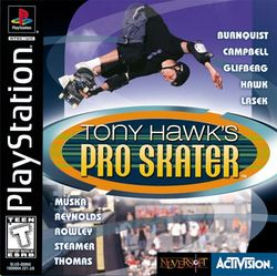 Box artwork for Tony Hawk's Pro Skater.