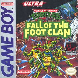 Box artwork for Teenage Mutant Ninja Turtles: Fall of the Foot Clan.