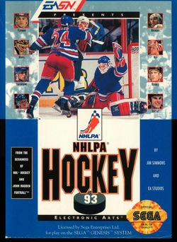 Box artwork for NHLPA Hockey '93.